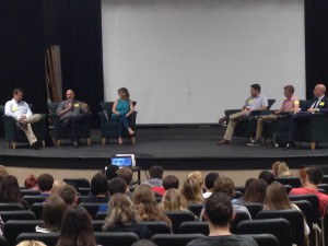 Academy students attend a panel discussion featuring professionals in the fields of publishing, television, photography, web and social media development