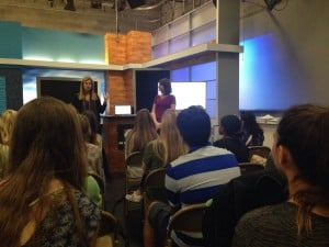 Television Production students attend a seminar led by WJXT News Director Kathryn Bonfield at Channel 4 Studios