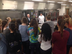 Academy students speak with the Executive Chef and General Manager of the World Golf Village Renaissance Resort during a recent field trip.