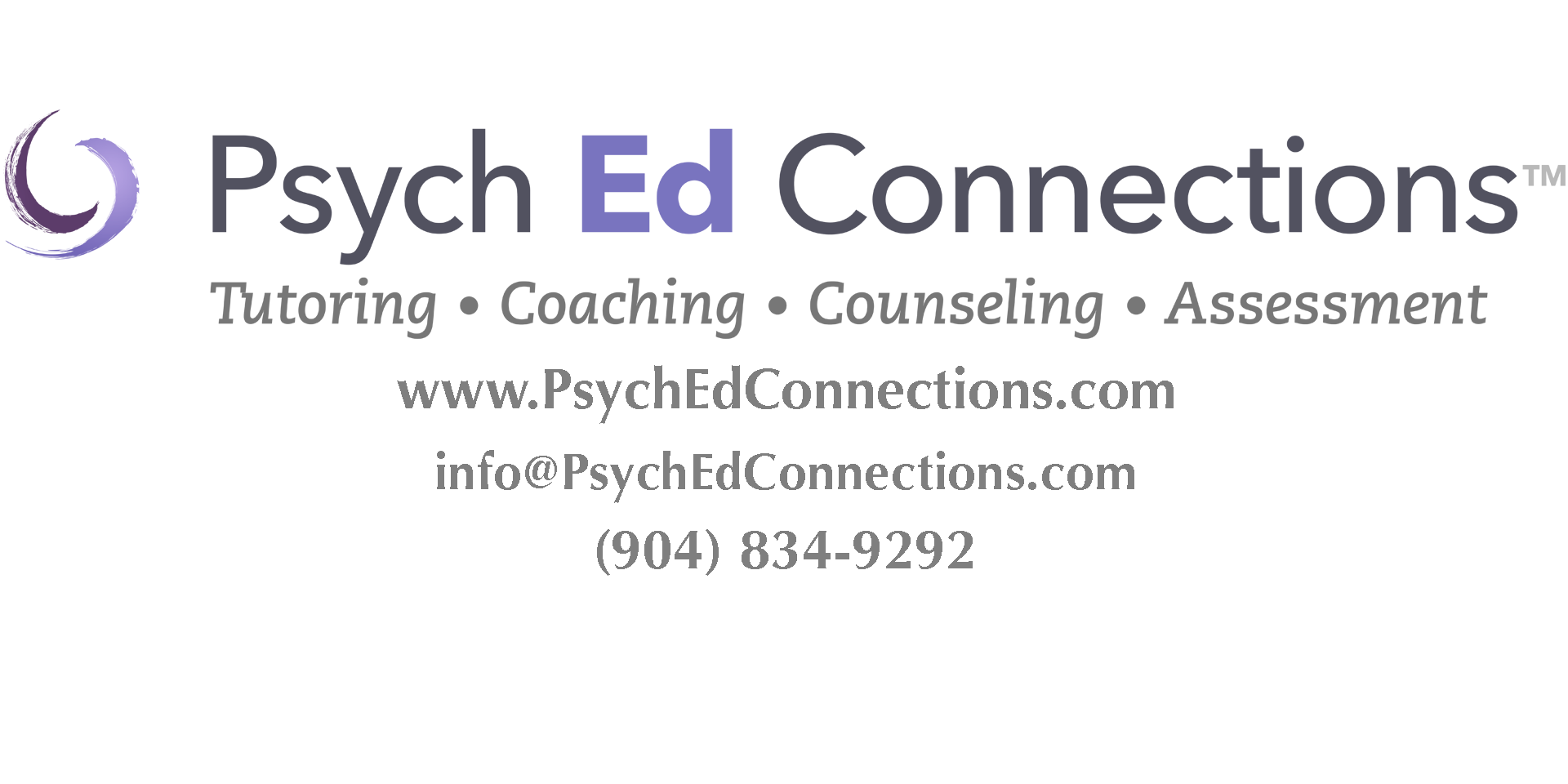 Psych Ed logo with contact info